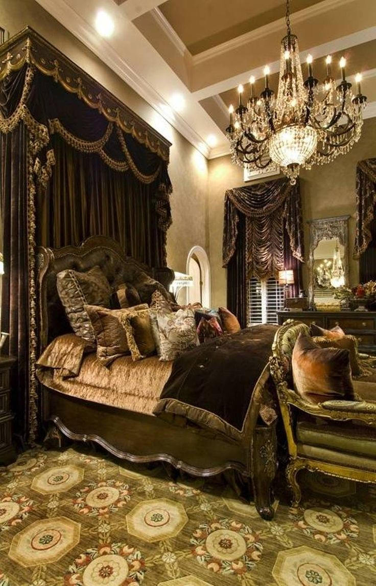 Bedroom , Classic Victorian Bedroom Ideas : Victorian Bedroom Ideas With Chandelier And Black Canopy And Curtains And Victorian Bed Frame An...