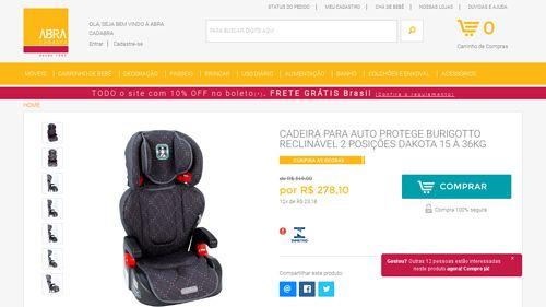 [Abra Cadabra Móveis e Decorações] Cadeira Para Auto Protege Burigotto Reclinavel 2 Posicoes Dakota 15 a 36kg por R$ 278,10