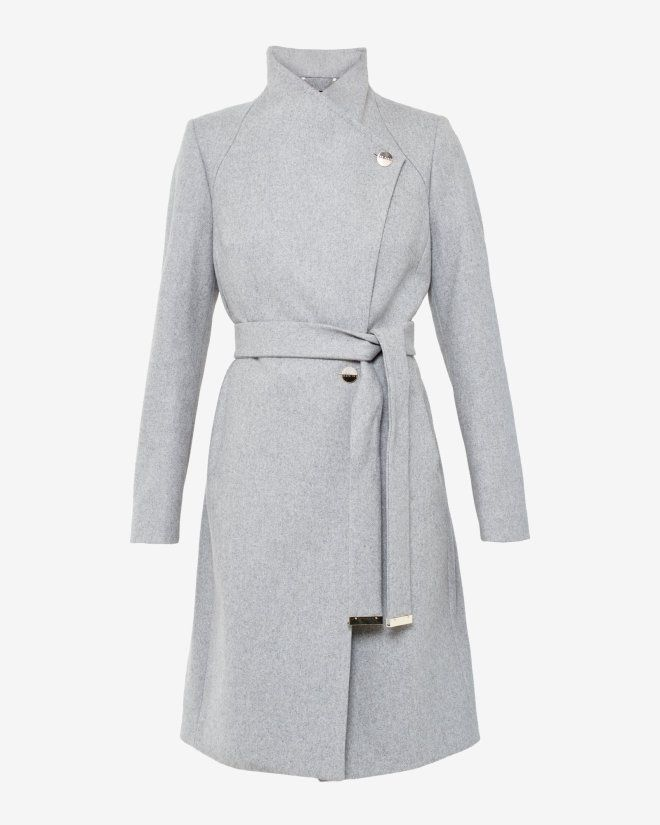 Long wrap coat - Grey Marl | Jackets & Coats | Ted Baker UK