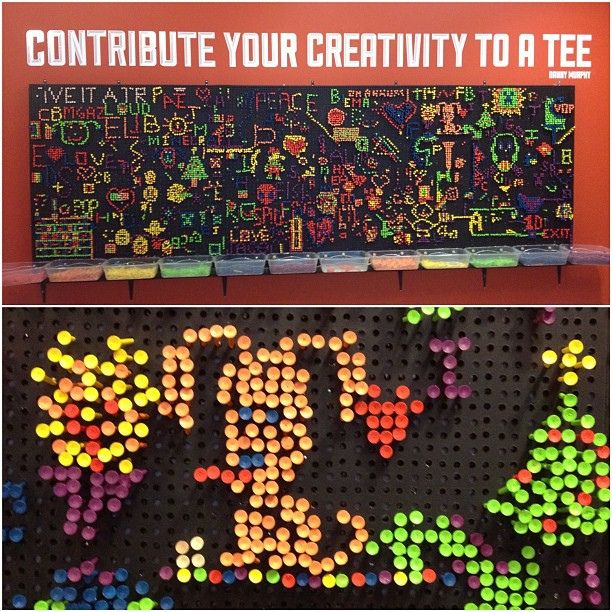 Lite Brite idea board using golf tees and a peg board in front of styrofoam (at the Idea Box in Oak Park Public Library) by spudart, via Flickr