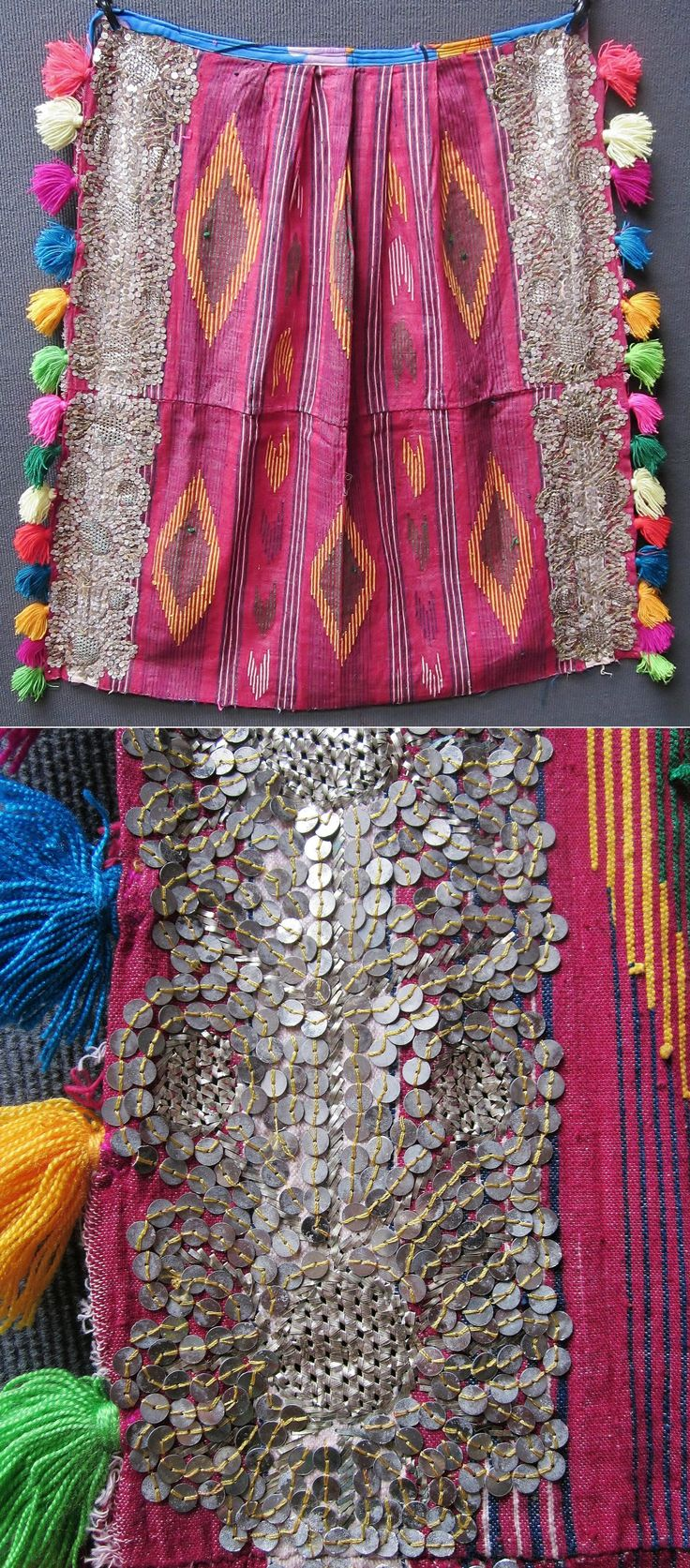 A bridal 'önlük' (women's apron, called 'önücek' locally) from the Sandıklı district (Afyon province). Mid-20th century. The fabric (cotton & orlon) was woven on small looms in some artisan workshops of Afyon town. The decoration with tassels, metal sequins and 'tel kırma' embroidery (motives obtained by sticking narrow metallic strips through the fabric and folding them) is the work of the bride and her female housemates. (Inv.nr. önL085 - Kavak Costume Collection - Antwerpen/Belgium).