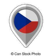 alfiler, checo, bandera, república, ubicación, icono
