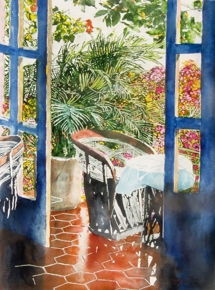 "puerto vallarta - open to the day - our studio / villa 2  micheal zarowsky - 30"" x 22"" - watercolour on a ches paper"
