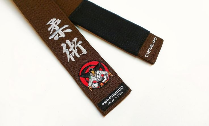 bjj brown belt with jiu jitsu kanji in silver and custom