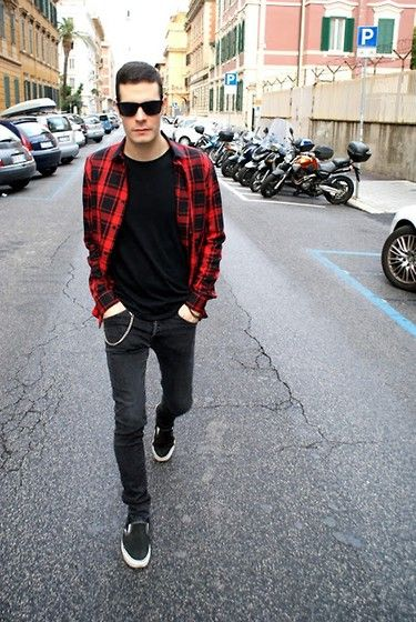 Flannel Black Slip Ons And Ray Bans Casual Cool Blvd Looks