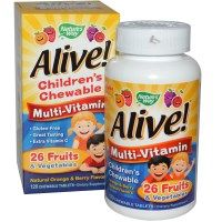 Nature's Way, Alive! Children's Chewable Multi-Vitamin, Orange, Berry, 120 Chewable Tablets