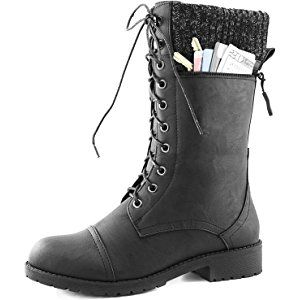 Womens DailyShoes Combat Style Lace up Ankle Bootie Round Toe Military Knit  Credit Card Knife Money Wallet Pocket Boots, Black Pu, 5