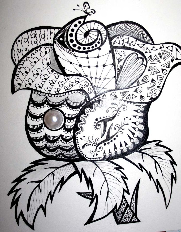 #doodles, #tangle art, #zia, zentangle-inspired,   Zentangle-Rose - June/Gemini birthday card I made for my BFF.