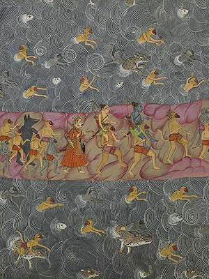 Detail from Rama's Army Crosses the Ocean to Lanka. From the Ramcharitmanas of Tulsidas (1532-1623). Jodhpur, c. 1775. British Museum