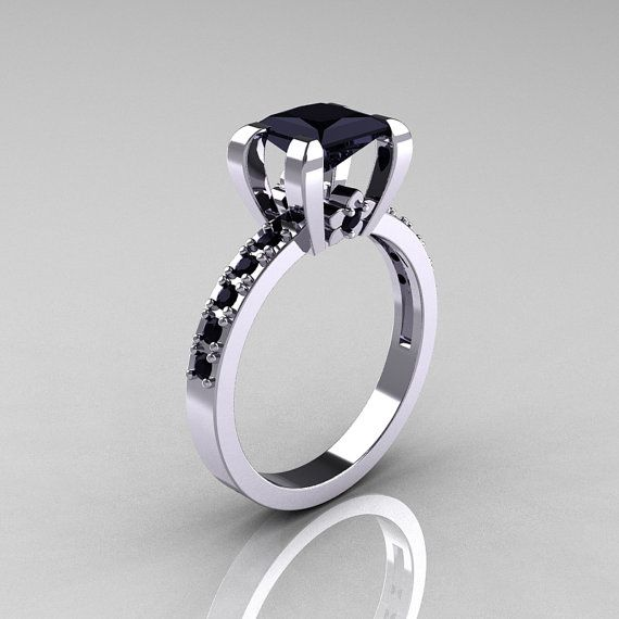 Classic French 14K White Gold 1.0 Carat Princess by artmasters, $1229.00