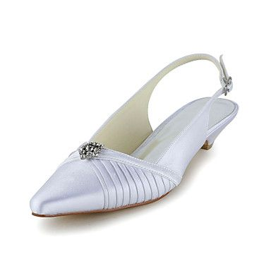 Women's Shoes Satin Kitten Heel With Rhinestone Flower Wedding Shoes More Colors Available - USD $ 42.49