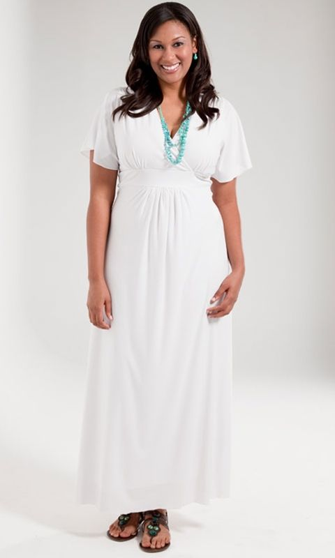 Timeless and classic plus size white maxi dress has a sexy neckline and empire waist to flatters your curves. Sizes 1x-6x (14-36) at swakdesigns.com