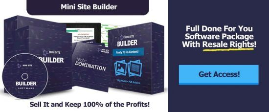 Mini Site Builder is a new software allows anyone to build responsive mini sites for any niche with just some clicks. All you have to pick some articles from your PC, enter an affiliate offer to promote (ClickBank, JVZoo, W+, CPA etc), and you're ready to go.