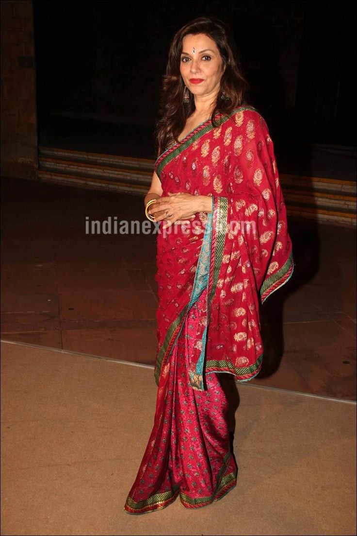 Lillete Dubey at Shobhaa De's daughter's wedding reception. #Bollywood #Fashion #Style #Beauty #Hot #Desi #Saree
