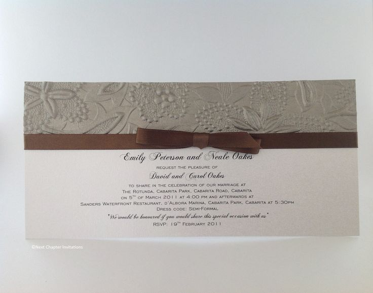 SPRING MINK A beautiful combination of mink embossed metallic paper and a chocolate ribbon. Comes complete with addressed envelopes. PRICE: $3.95 https://www.facebook.com/NextChapterWeddingInvitations