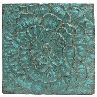 Turquoise Flower Square Wall Plaque