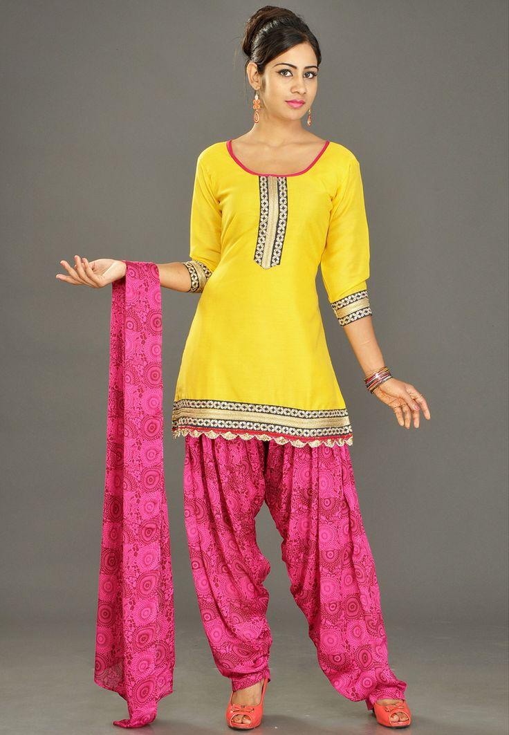 Yellow Chanderi Cotton Readymade Salwar Kameez Online Shopping: KPL260