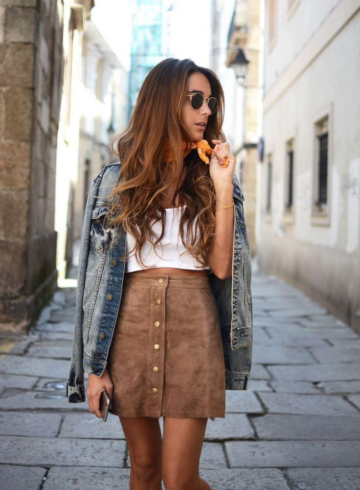 Suede camel skirt, denim jacket and white top. Latest fall fashion trends.: