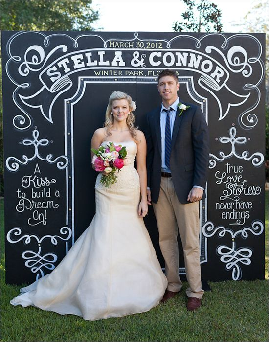 I really love this idea for a wedding! But I don't like the couple not embracing each other!  Andi Mans Photography + Chalkboard Background