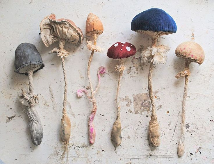 Recycled vintage textile mushrooms by Mr Finch