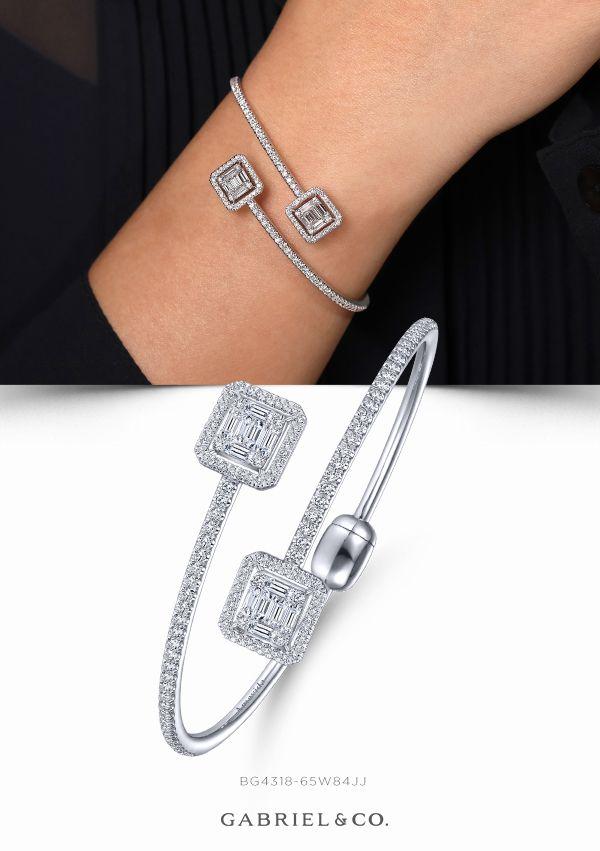 Fashion Bangle Jewelry 18K White Gold Filled New Arrival White Sapphire Bracelet