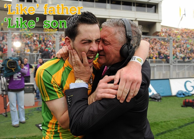 Donegal Footballer and 2012 All-Ireland Champion Mark McHugh embraces his father Martin McHugh, an All-Ireland winner with Donegal in 1992, after the full time whistle in Croke Park on Sunday, September 23.