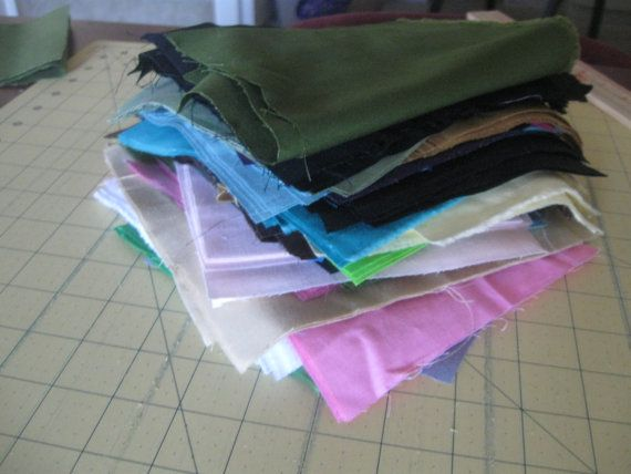 100 Fabric scraps SOLID pieces for quilting sewing by MILKYBABY50, $5.99