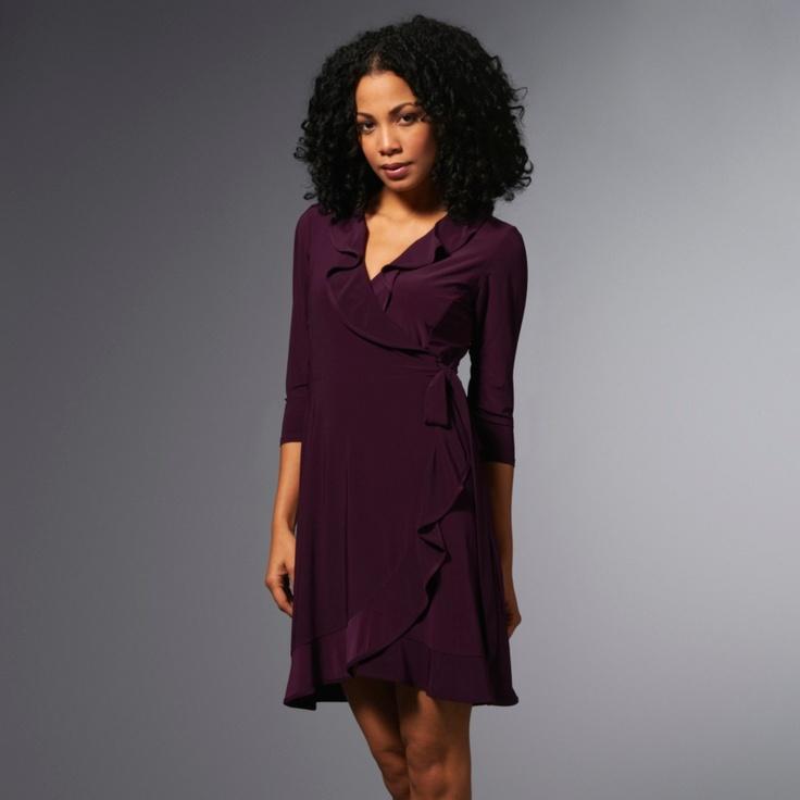 ooo love the ruffle edge.: Wrap Dresses, Ruffles Wraps, 3 4 Sleeve Ruffles, 34Sleev Ruffles, Wraps Dresses, Products, Ruffles Edge