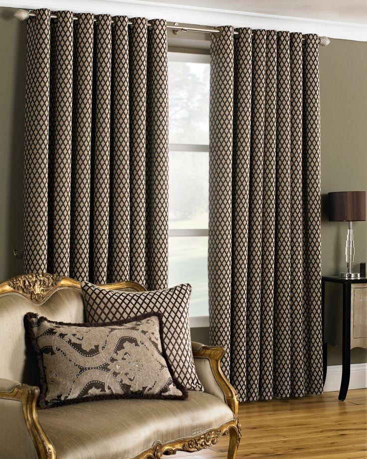 Devere Brown Eyelet Curtains - MIAH