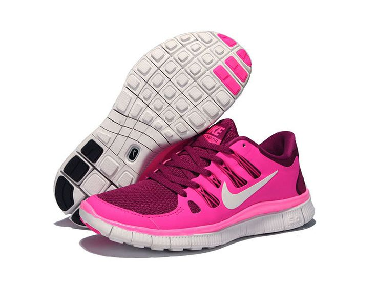 Womens Nike Free 5.0 Raspberry Red Summit White Pink Foil Running Shoes  #Red #Womens
