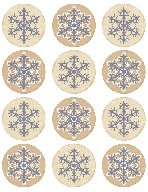 "Free printable with 2.5"" round (slate gray & white) snowflake tags, labels..."