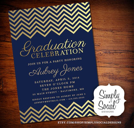 graduation party invitation with gold chevron and navy
