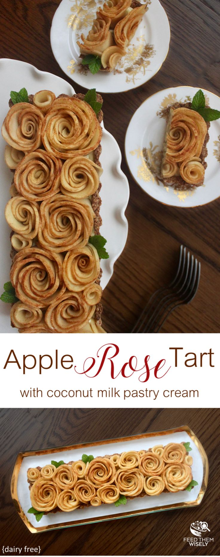 Delight your guests with this dairy-free Apple Rose Tart. Delicious baked apple roses sit on a bed of silky coconut cream in an almond whole wheat pastry crust. #dairyfree #dairyfreerecipe #appletart #applerose #holidayrecipes #dessertrecipes