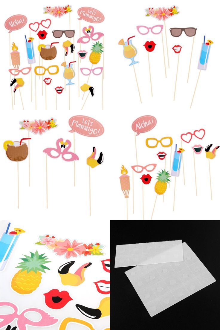 [Visit to Buy] 21pcs Hawaii Carnival party Photo Props Themed Summer beach Party Photo Booth Props DIY Luau Party Supplies #Advertisement