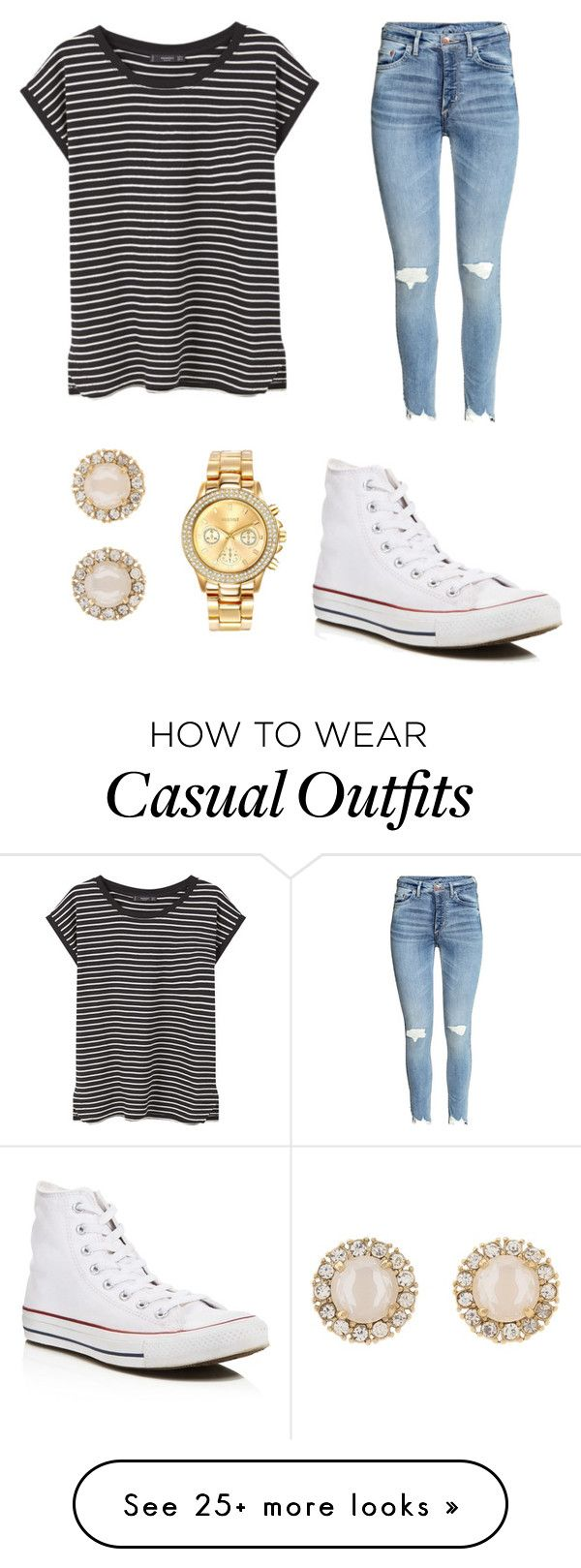 """""""Casual back to school outfit"""" by chalverson on Polyvore featuring MANGO, Converse, Mestige and Kate Spade"""