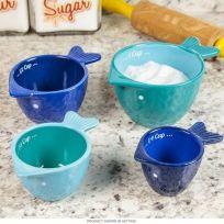 Peixe cerâmica copos de medição seco conjunto de 4