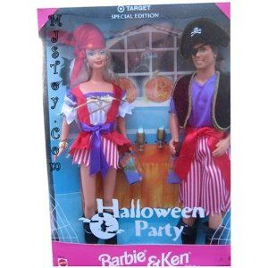 Target Special Edition Halloween Party Barbie and Ken by Mattel. $19.99. Halloween special edition Barbie and Ken. Barbie and Ken dressed as Pirates. Target special edition dolls. Barbie and Ken Special edition Halloween dolls. Target special edition dolls. Barbie and ken dressed as pirates.