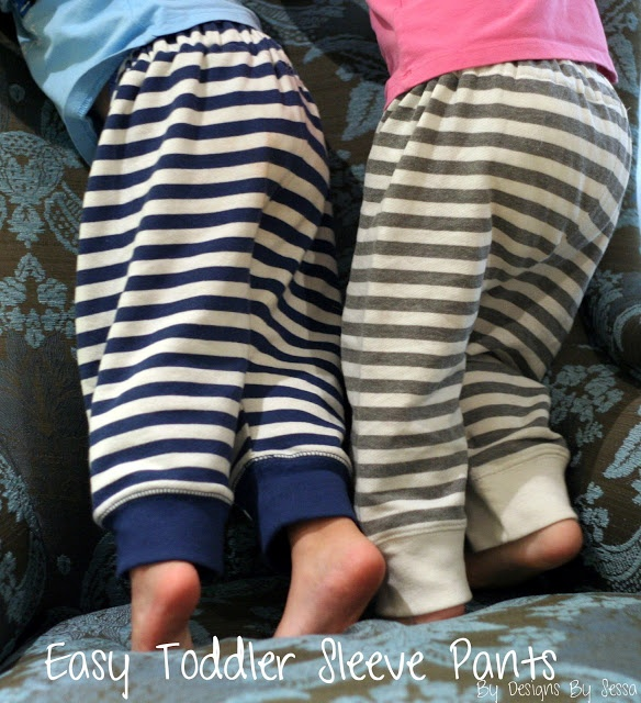 Toddler sweatpants made from XL sweatshirt sleeves! by Designs by Sessa