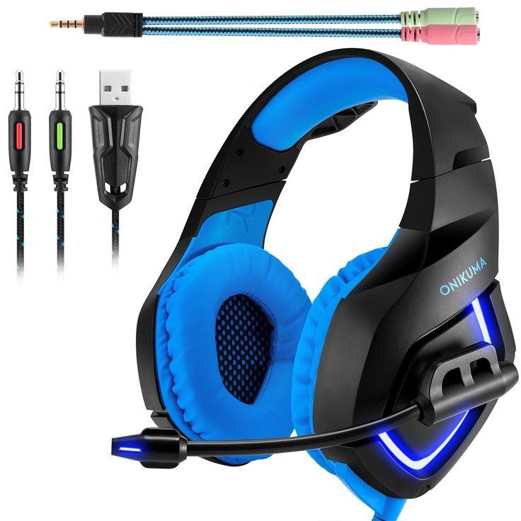 ONIKUMA K1 Gaming Headset, 3.5mm PC Stereo Gaming Headset for PS4 / Xbox One S, Bass Headphones with Soft Tube Microphone Volume Control, Noise isolation for PC Mac Laptops Computers (Blue)