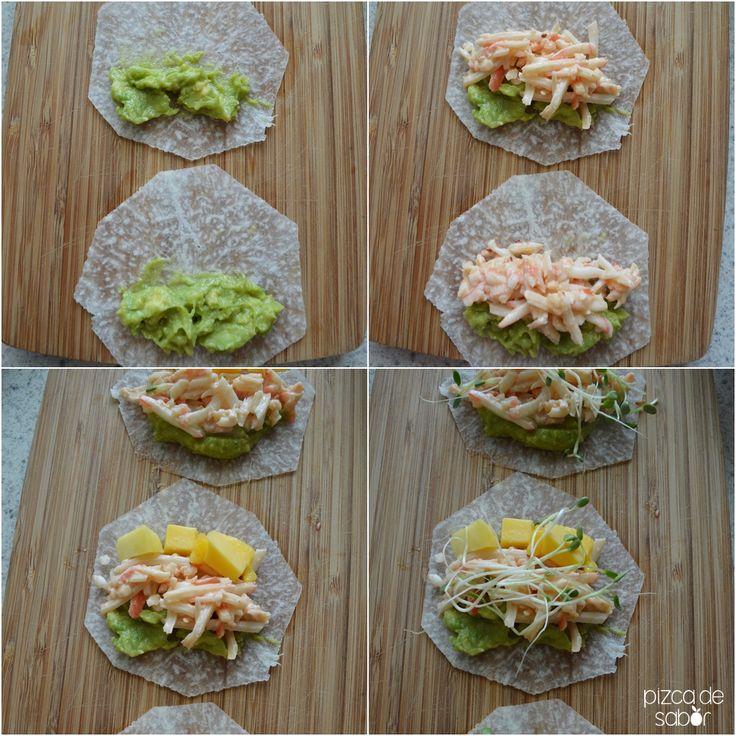 Tacos de jícama con surimi, mango y chipotle www.pizcadesabor.com