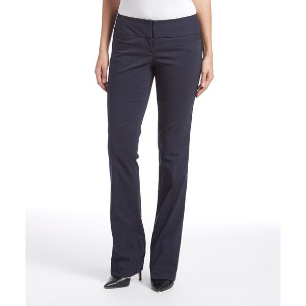 The Limited Navy Ideal Stretch™ Bootcut Pants ($46) ❤ liked on Polyvore featuring pants, slim dress pants, dress pants, bootcut dress pants, stretchy dress pants and slim fit dress pants