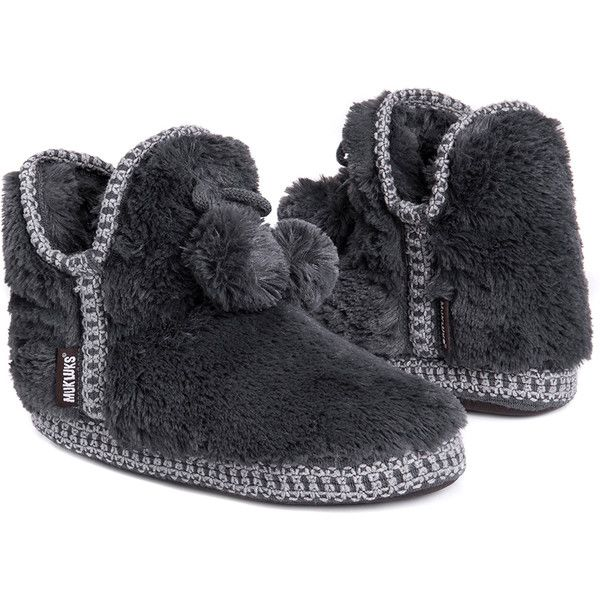 Women's Muk Luks Amira Women's Faux-Fur BootiesPewter/Small ($20) ❤ liked on Polyvore featuring shoes, grey, slippers, fleece-lined shoes, grey shoes, faux fur shoes, faux fur lined shoes and gray shoes