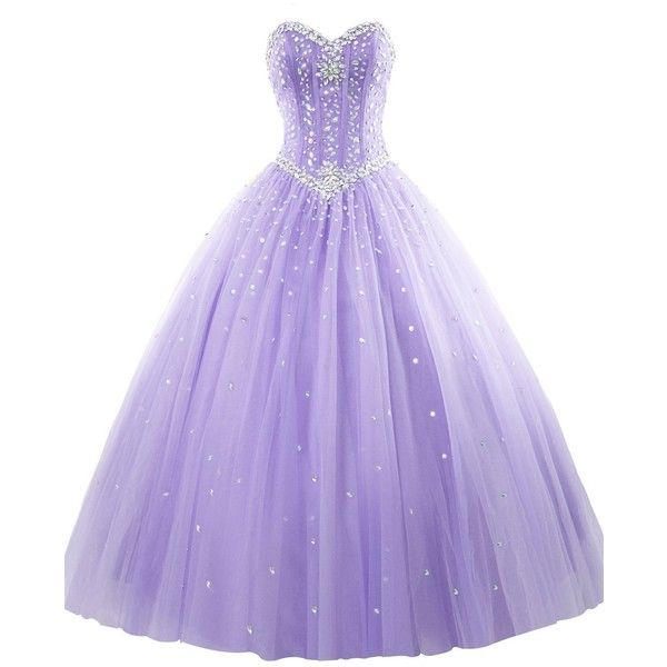 Women's Sweetheart Ball Gown Organza Quinceanera Dresses With Beads... ($15) ❤ liked on Polyvore featuring dresses, beaded sweetheart dress, sweetheart neckline dress, purple dress, sweetheart dress and purple beaded dress
