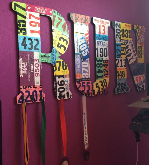 DIY medal display. I might do this but with quotes from magazines instead of race numbers, as it'll take me years to get that many :')