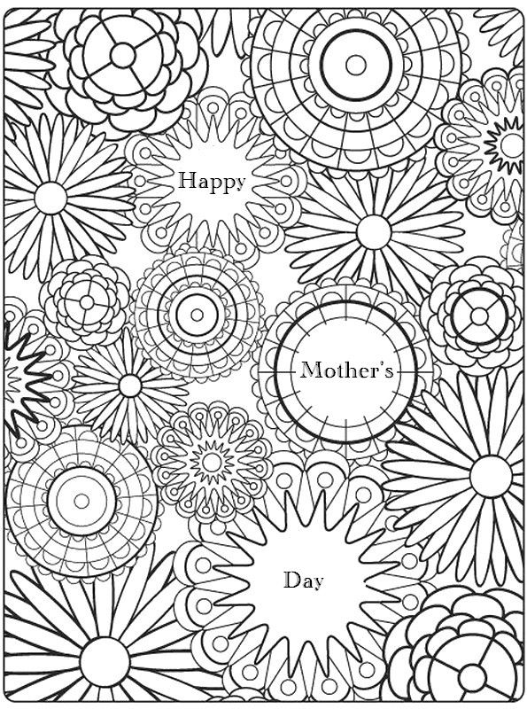Adult Coloring Pages Printable That Say Happy Moms Day