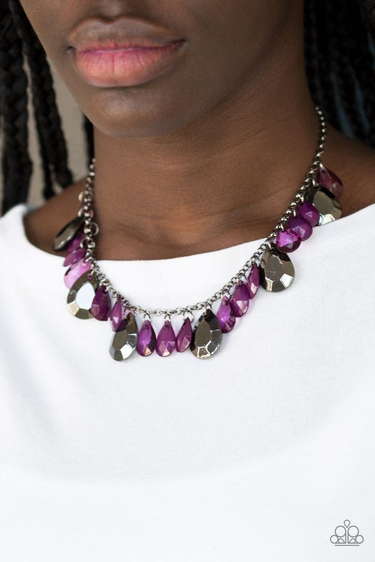 Paparazzi Hurricane Season - Purple Faceted Bead Necklace ...
