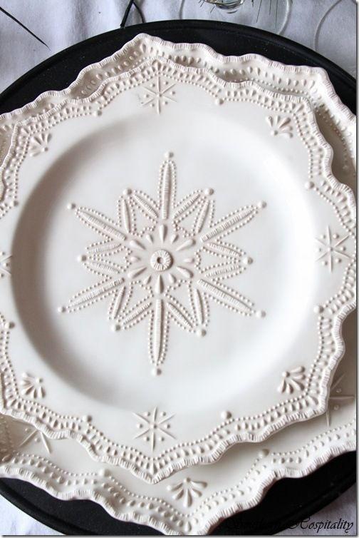 white snowflake plates