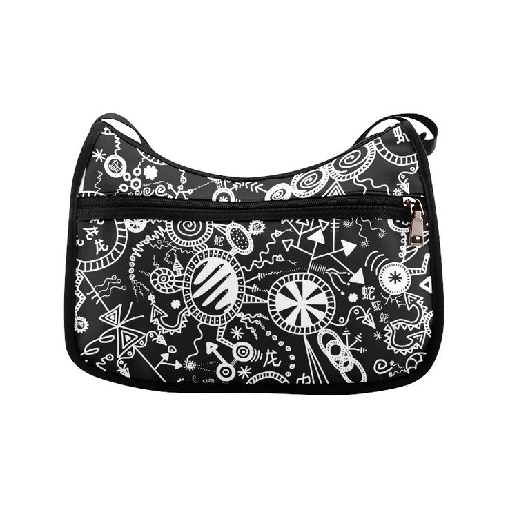 Wheels, Snakes and Worms Black and White Doodle Crossbody Bags (Model 1616)