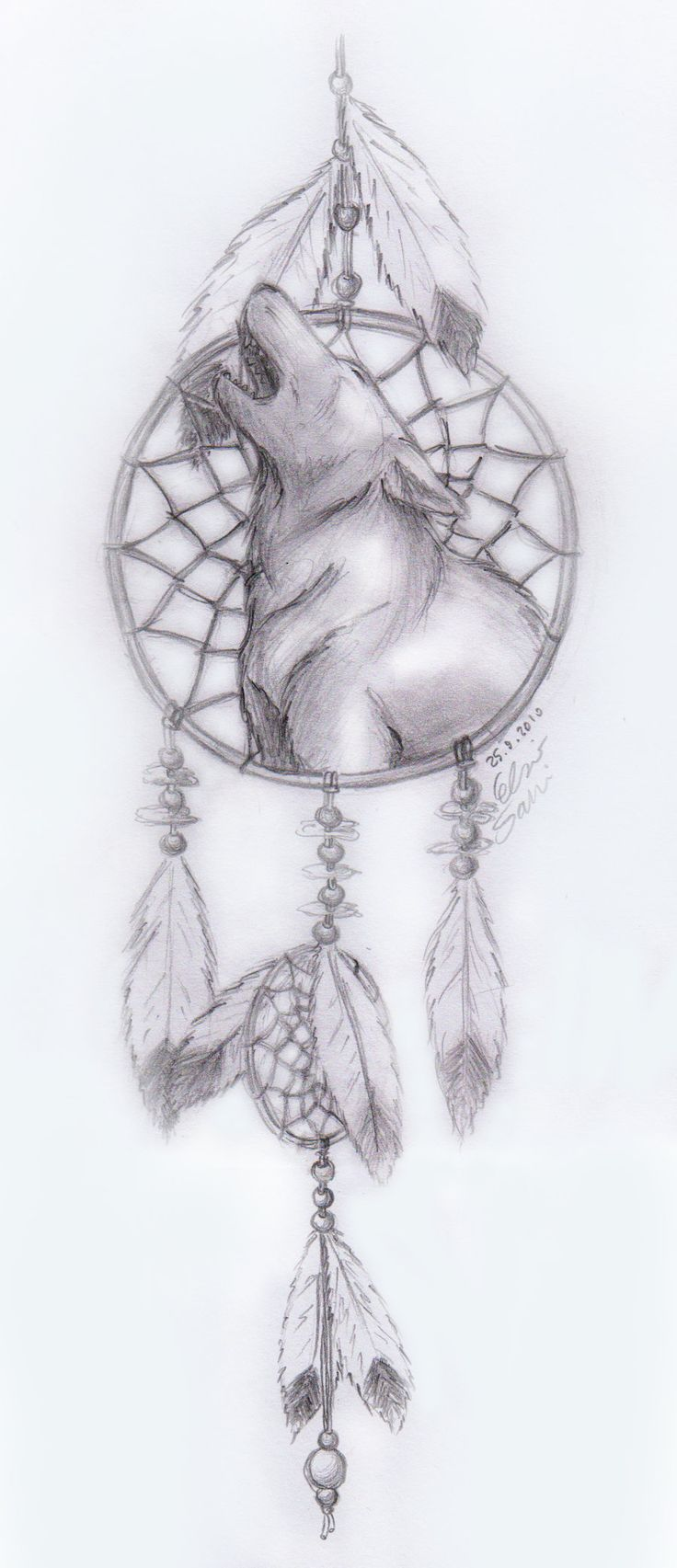 Dream Catcher Drawings  Howling Wolf Dreamcatcher By Frostdanger  Traditional Art Drawings