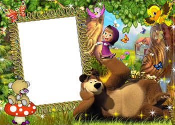 Free photo frames online. Category: Masha and bear